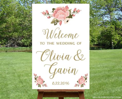 Wedding Welcome Sign by Printable Large Wedding Welcome Sign Personalized Wedding
