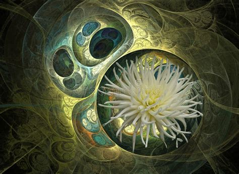 Fleur Verte Et Blanche by Fleur Verte Et Blanche Illustration Stock Image Du