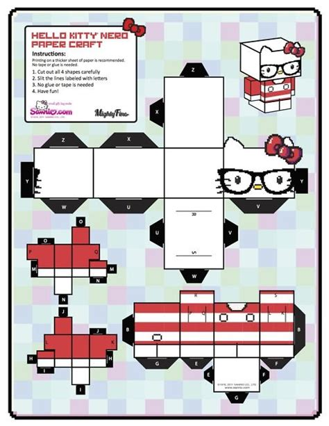 Hello Papercraft - hello paper cubeecraft hellokitty craft