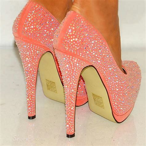high heels with bling sparkle pink rhinestone sky high stiletto heels shoespie