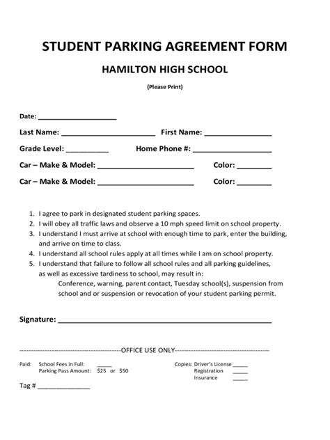 Parking Agreement Form 7 Free Templates In Pdf Word Excel Download Parking Permit Form Template