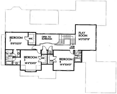 upper floor plan european style house plan 4 beds 4 5 baths 3960 sq ft