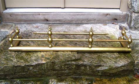 19th century solid brass fireplace fender item 7630