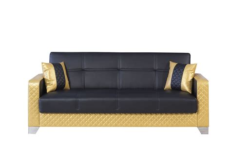 Maximum Value Black & Gold Convertible Sofa by Casamode