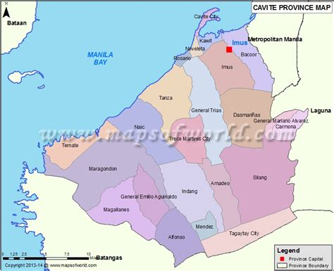 Cavite The by Cavite Map Map Of Cavite Province Philippines