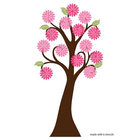 tree stencil for wall mural flowering tree wall stencil