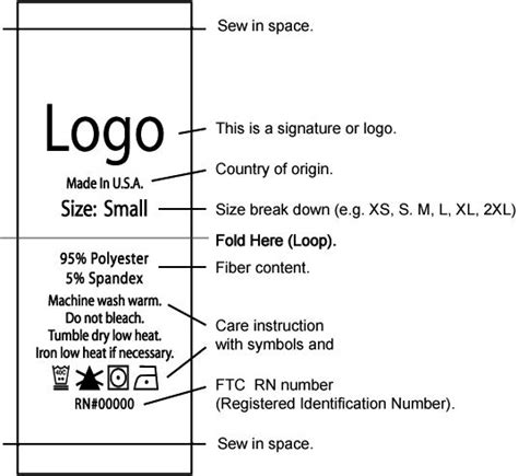 This Is A Signature Or Logo Country Of Origin Size Break Down Fiber Content Care Instruction Clothing Care Label Template