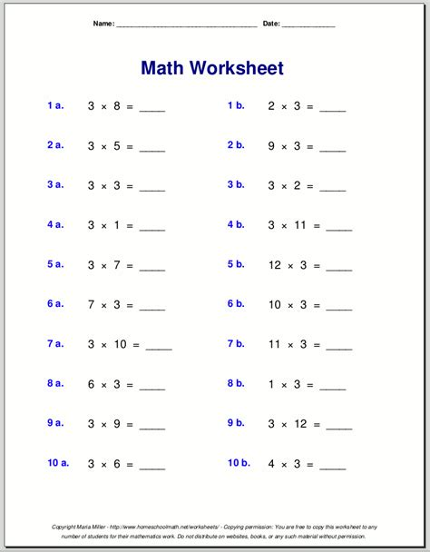 printable multiplication table of 3 multiplication worksheets for grade 3