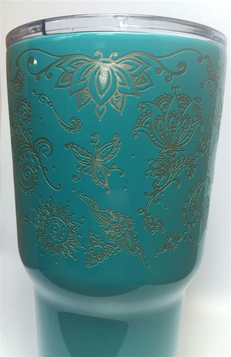 pattern yeti cup teal powder coated rtic 30 oz tumbler laser engraved in