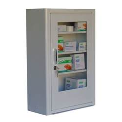 wall mounted metal aid cabinet with clear panel door