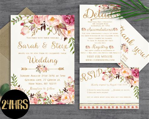 printable wedding stationery floral wedding invitation template wedding invitation