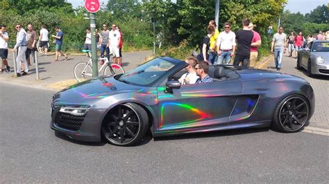 audi r8 wrapped rainbow wrapped audi r8 v10 spyder at cars and coffee