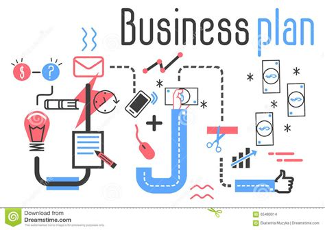 vector plan blue print flat design stock vector business plan vector concept in flat line design stock