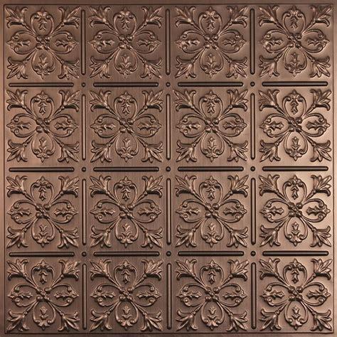 ceilume fleur de lis faux bronze ceiling tile 2 feet x 2
