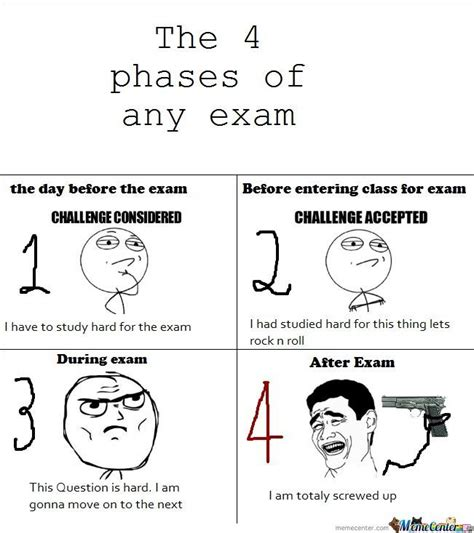Memes About Exams - the 4 phases of any exam by amourous meme center