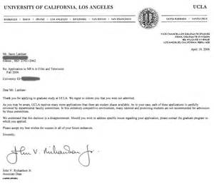 College Acceptance Letter Ucla Photo Sle Rejection Letter For Business Images