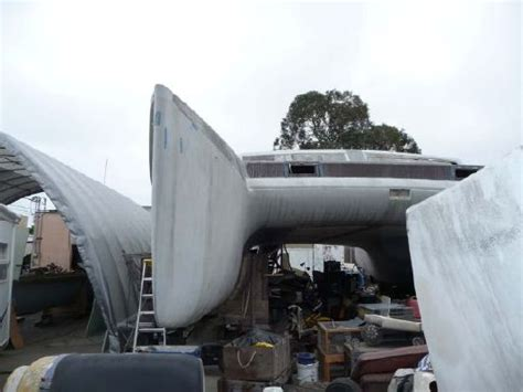 catamaran unfinished project 1990 kurt hughes design project catamaran boats yachts