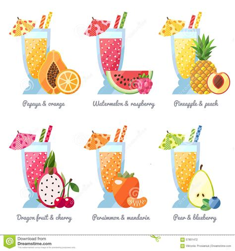 modern drink fruit smoothie juice in big glasses vector concept menu