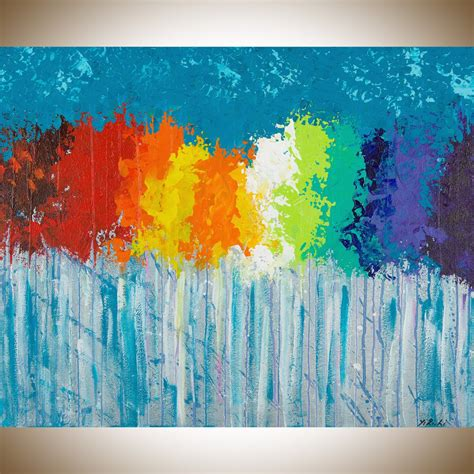 colorful canvas rainbow flowers by qiqigallery 30 quot x24 quot original modern