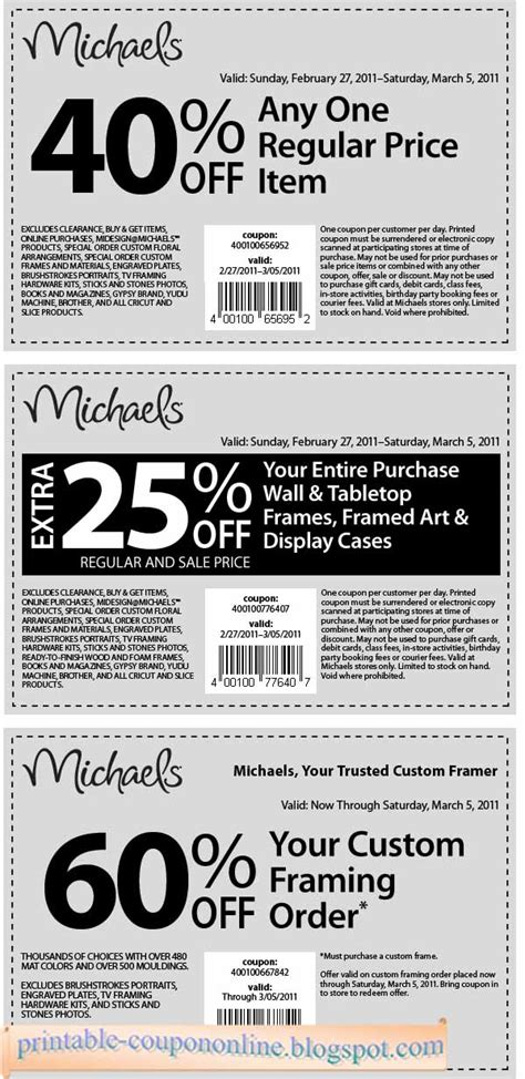 Craft Store Coupons Printable