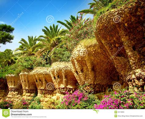 barcelona gaudi s guell park stock image image of blue