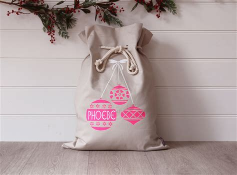 large personalised santa sack pink baubles honeysuckle
