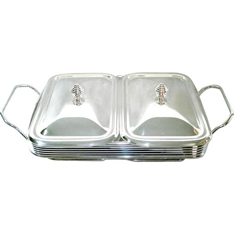 silverplate double buffet server warmer tray from