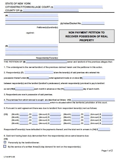 Rent Demand Letter New York Free New York Nonpayment Of Rent Eviction Form Petition Demand For Rent Pdf Word Doc