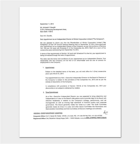 appointment letter subject business appointment letter template 13 sles formats