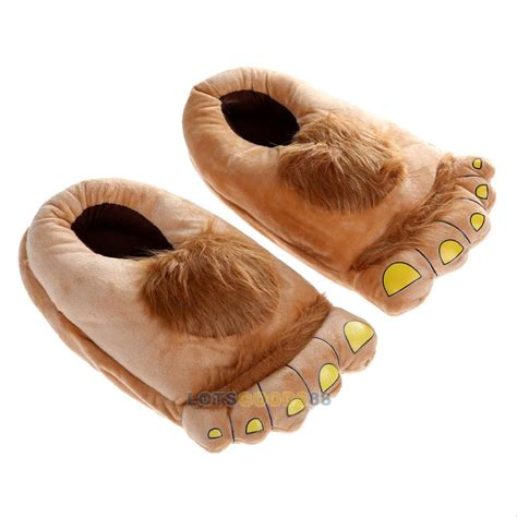 monster house shoes big hairy feet slippers big foot house shoes shire monster funny shoes brown l ebay