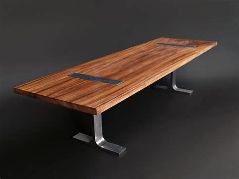 solid 10 perota dining table w custom cast aluminum legs