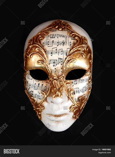 Notes On Seikisho Mask White by Golden White Venetian Carnival Mask With Notes Stock