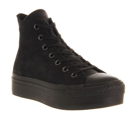 platform black sneakers converse all hi platform black satin trainers shoes