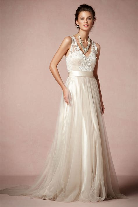 and tulle over blush wedding dress onewed com