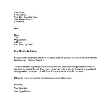 Employment Notice Letter Template 12 resignation letter template free word excel