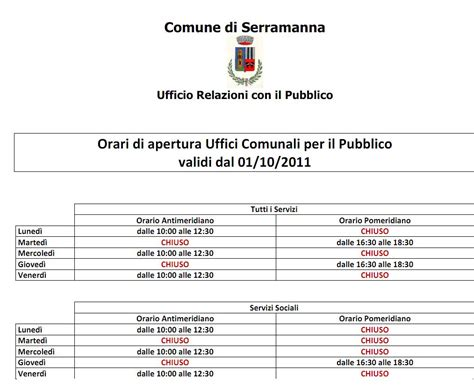 orario di nuovi orari di apertura uffici comunali a serramanna