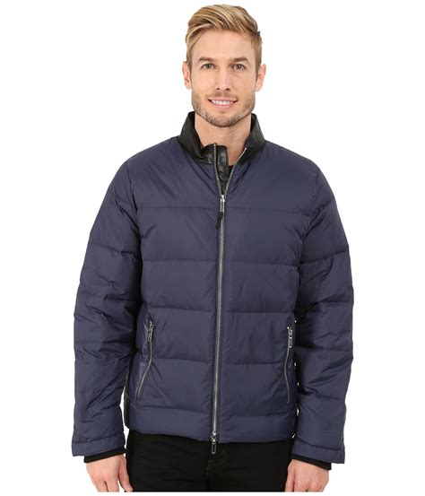 Jacket Calvin lyst calvin klein jacket with faux leather collar detail in blue for