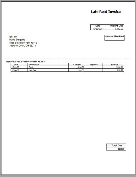 Late Payment Invoice Template late rent invoice