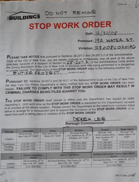 Stop Work Order by Stop Work Order Issued At 192 Water Street Dumbo Nyc
