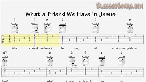 guitar tutorial in jesus name guitar hymn what a friend we have in jesus tabs