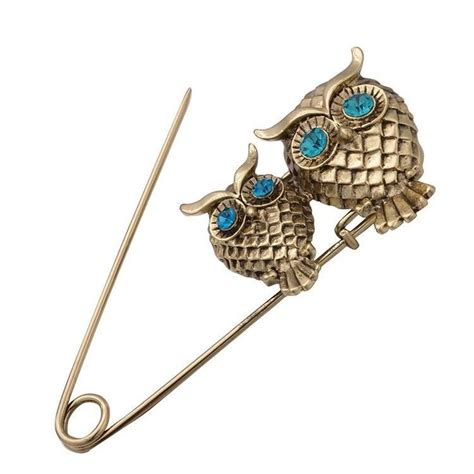 vintage gold silver owl pin brooch bling kilt brooch large safety pins safety pins