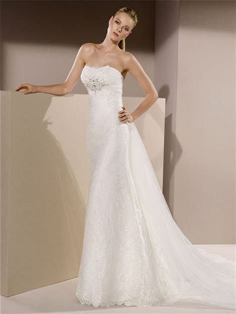 slim fitted strapless beaded wedding dress