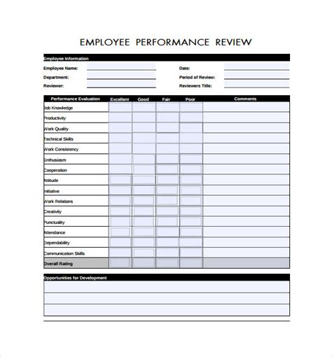 review form template free printable employee evaluation form www imgkid