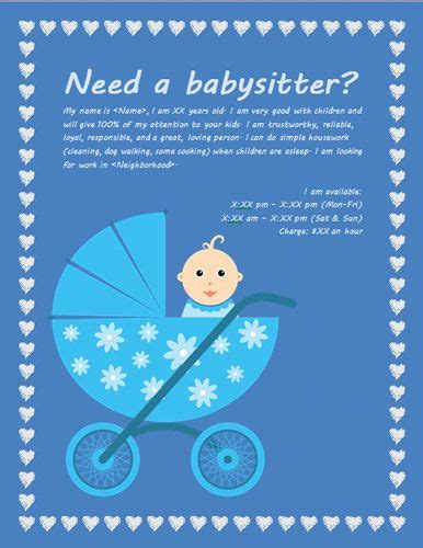 design babysitting flyer babysitting flyer with baby carriage ideas pinterest