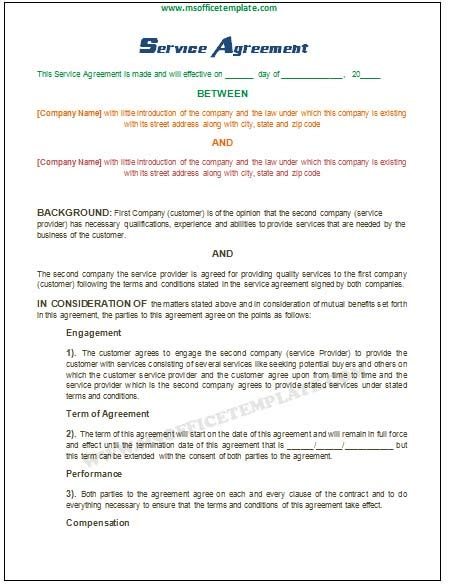 service agreement save word templates