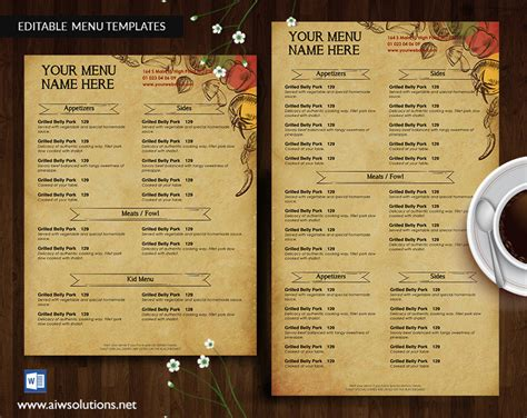 Design Templates Menu Templates Wedding Menu Food Menu Bar Menu Template Bar Menu Price Menu Template
