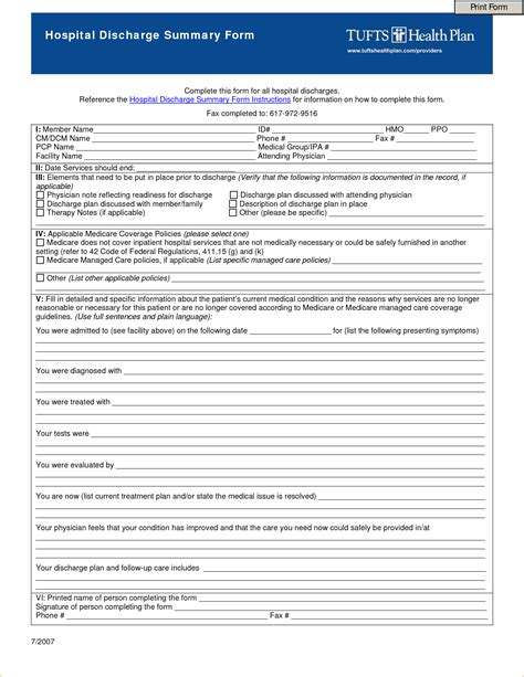 How To Make A Hospital Discharge Paper - 8 hospital discharge papers templateagenda template sle