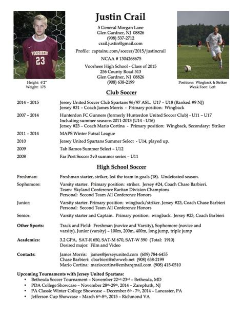 Resume Samples Youth by Player Profile Justin Crail College Sports Recruiting