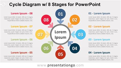 Cycle 8 Preview by Cycle Diagram W 8 Stages For Powerpoint Presentationgo