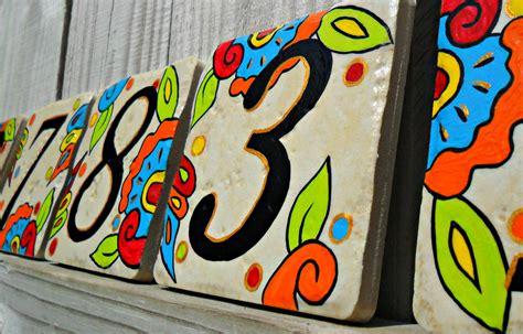 art and design address hand painted house numbers address tiles spanish
